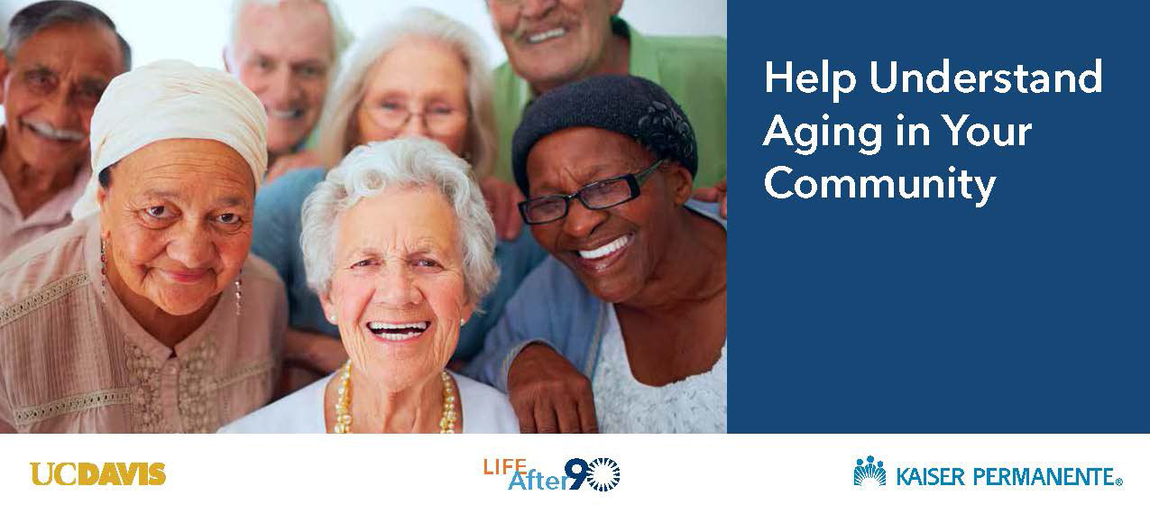 group of elderly people with life after 90 study logo