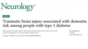 Traumatic brain associated with dementia risk for type 1 diabetes