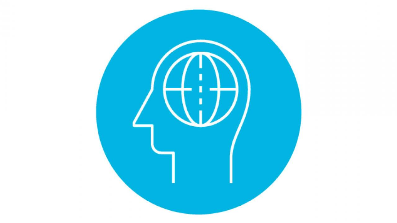 line icon of head with thinking brain