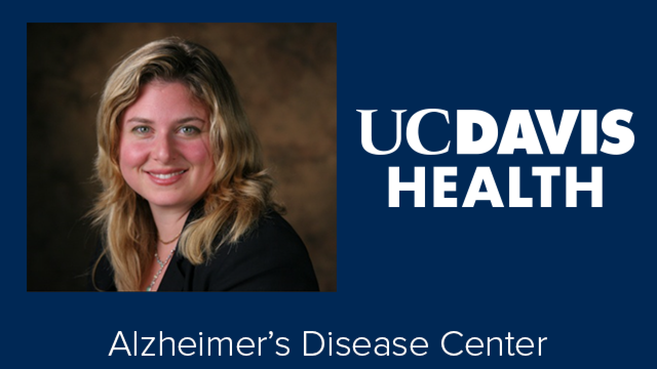 Rachel Whimter photo and UC Davis Health Alzheimer's Disease Center logo
